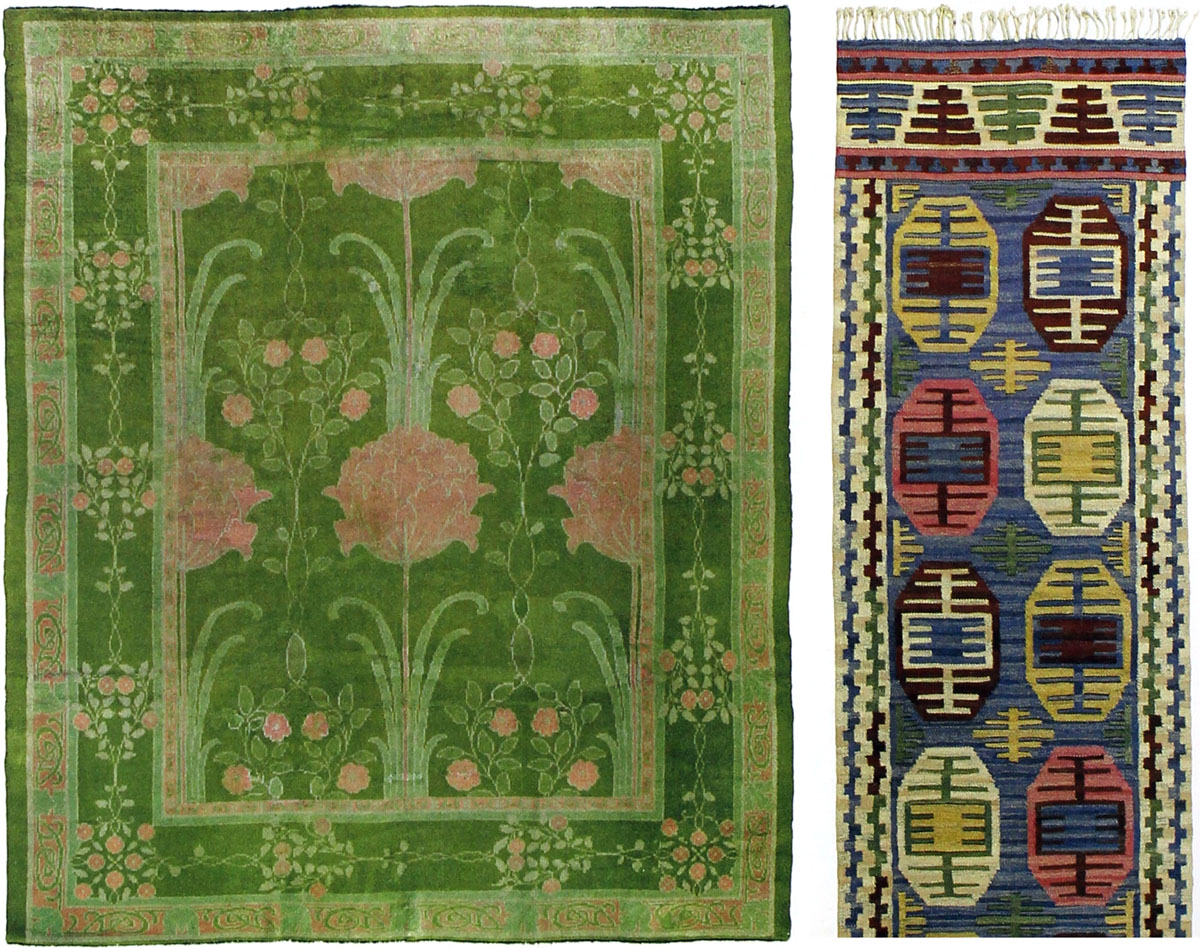 From left: C.F.A. Voysey carpet, first quarter 20th century, hand-woven wool; Marta Maas-Fjetterstrom, Dukater flatweave runner, 1924, hand-woven wool.