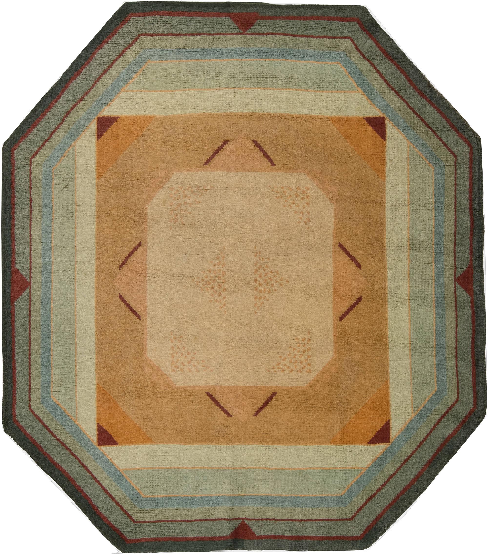 Vintage französisch art deco teppich