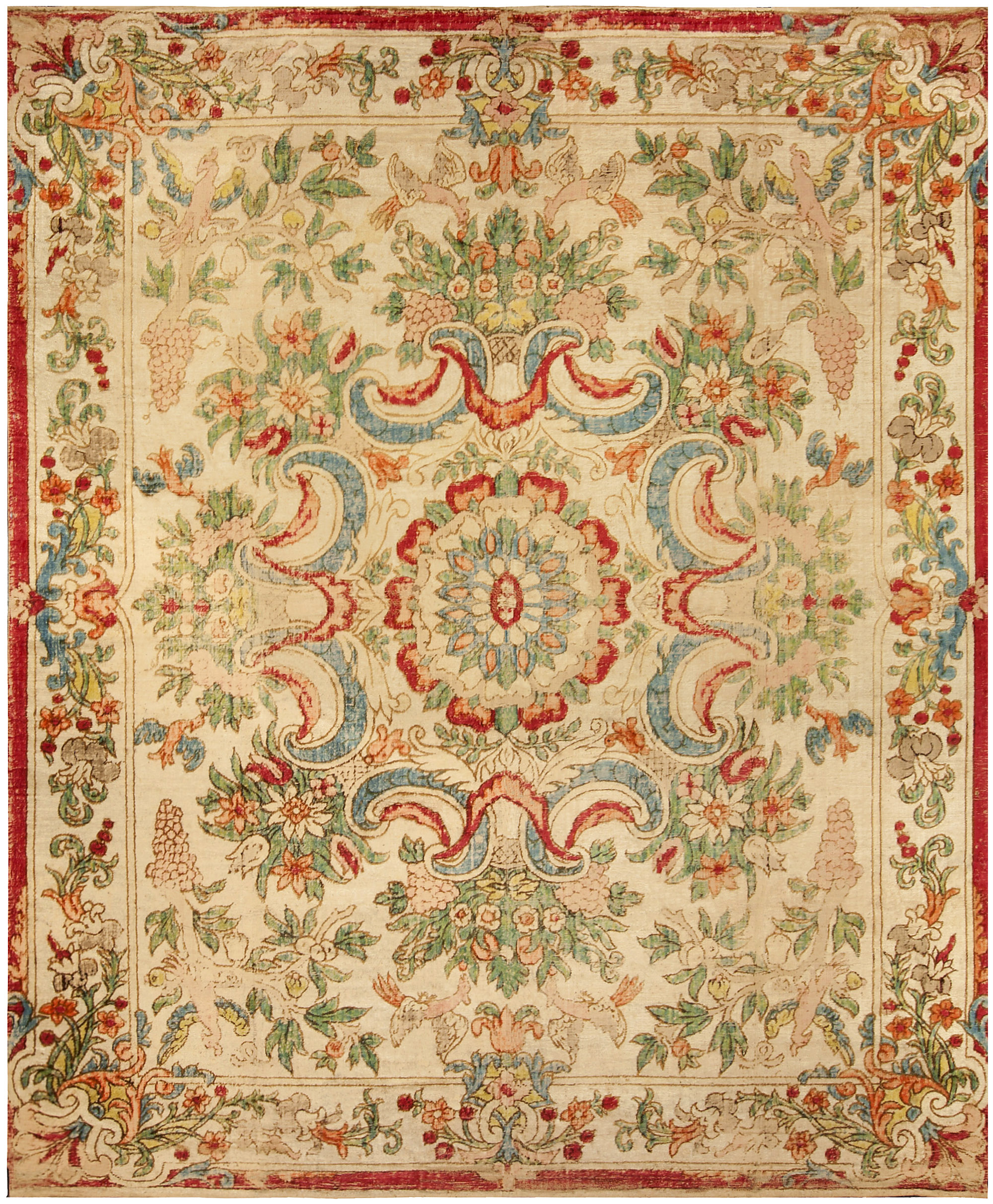 Antique French Aubusson Rug Antique French Aubusson Rug Antique European  Silk Table Carpet ...