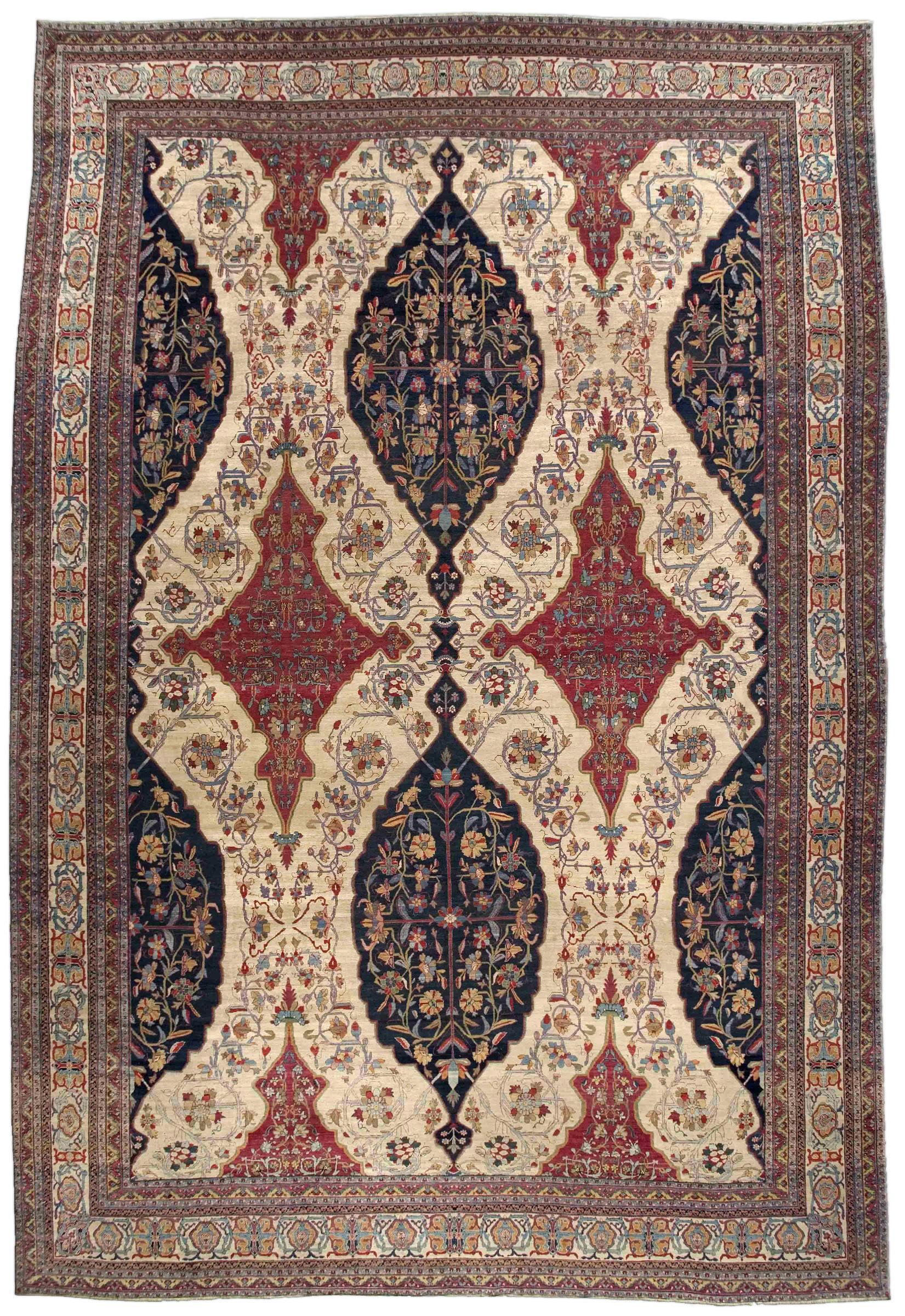 Oversized Antique Persian Kirman Rug