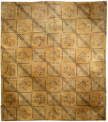 hooked rug geometric botanic