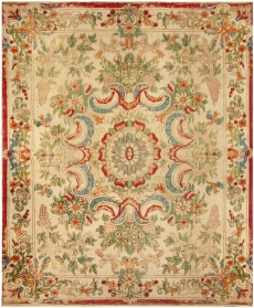 Antique French Aubusson Silk Rug