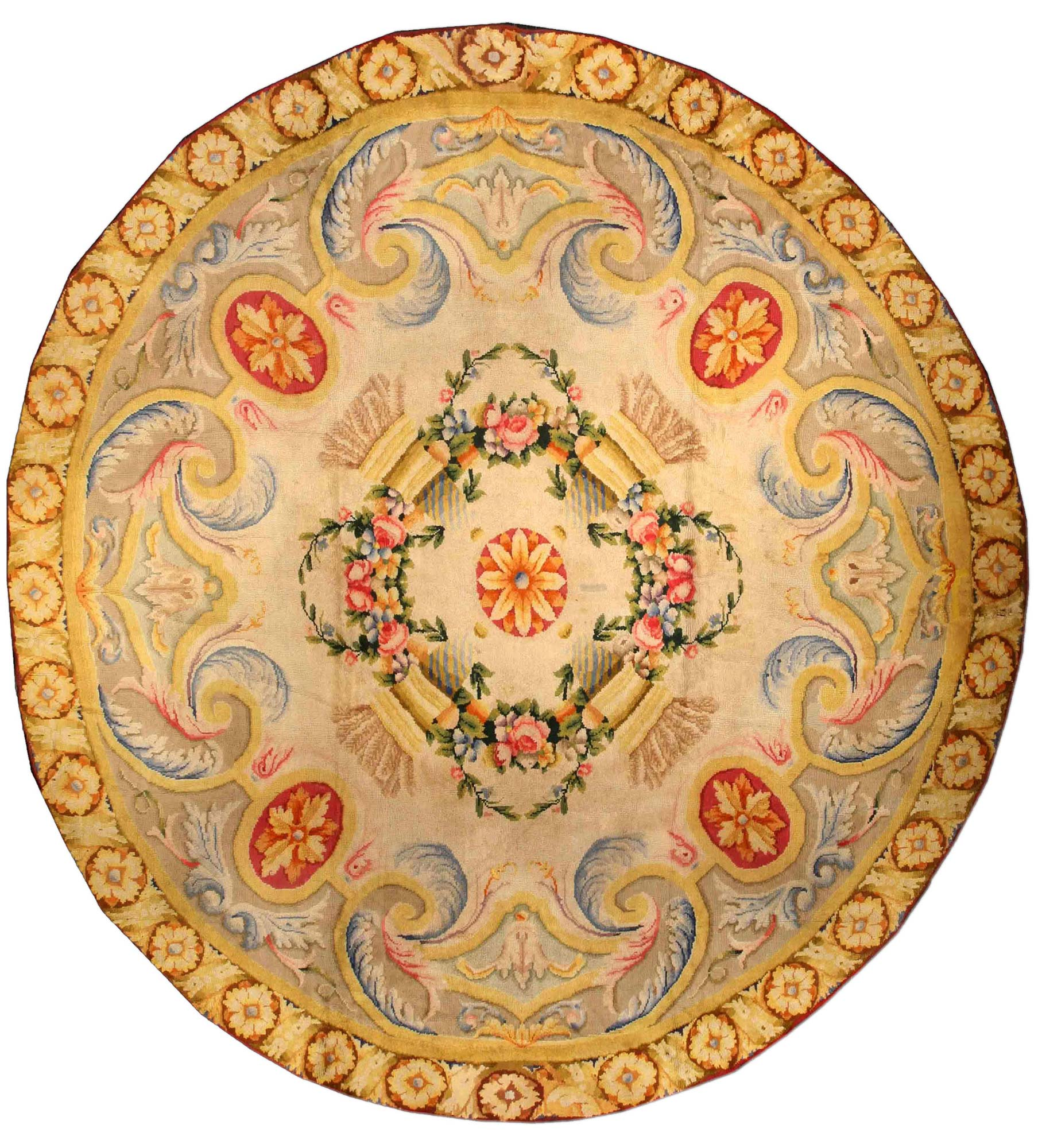 Vintage Spanish Circular Rug Bb1348 By Dlb