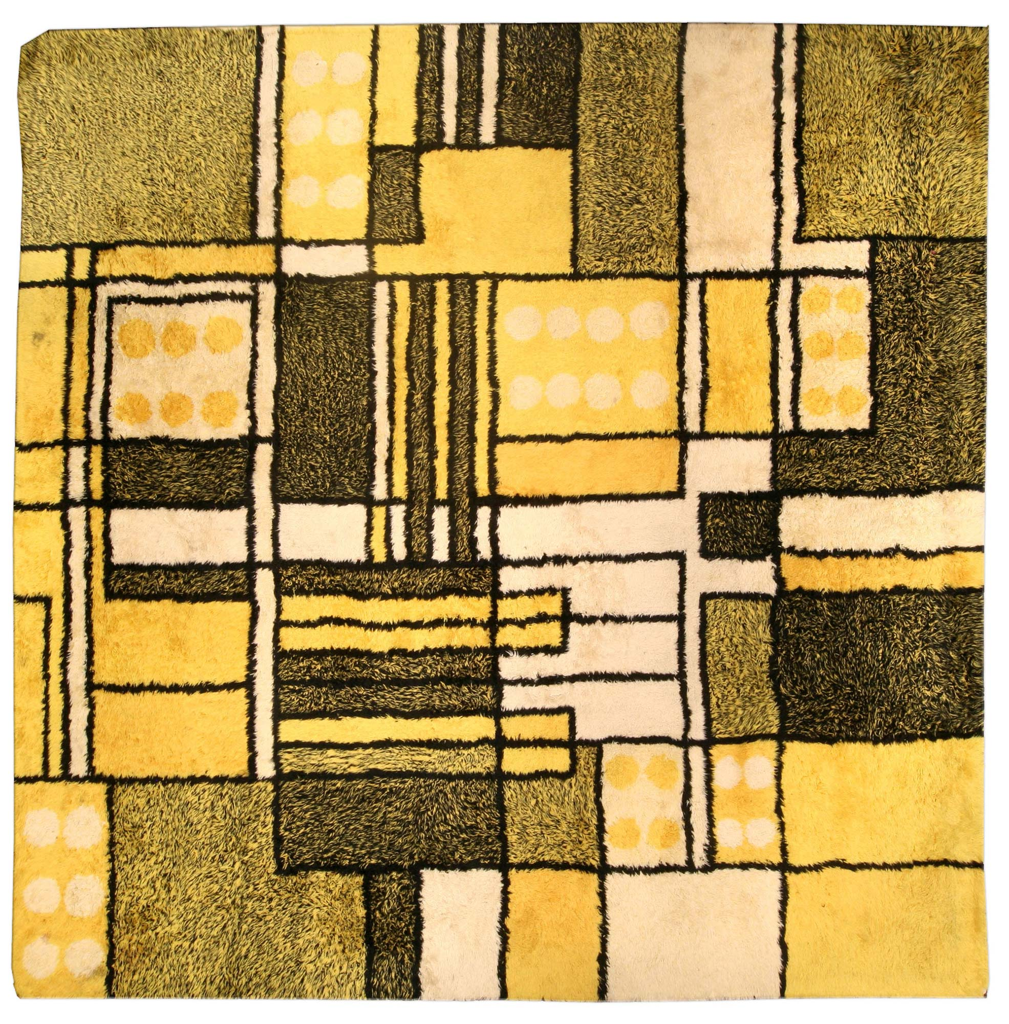 Yellow Vintage Modernist Rug Bb4475 By Dlb