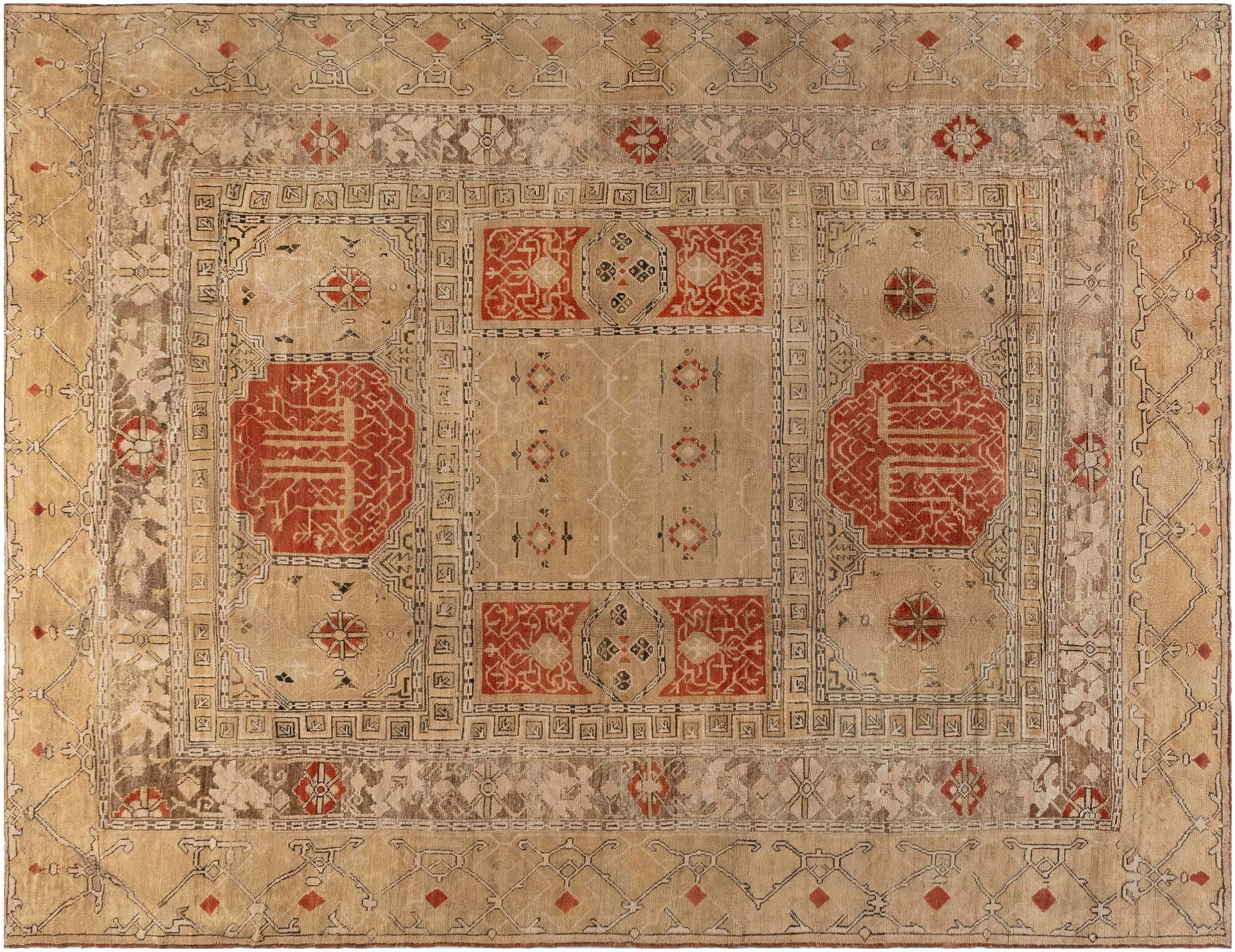 Beige Handwoven Wool Rug BB7168