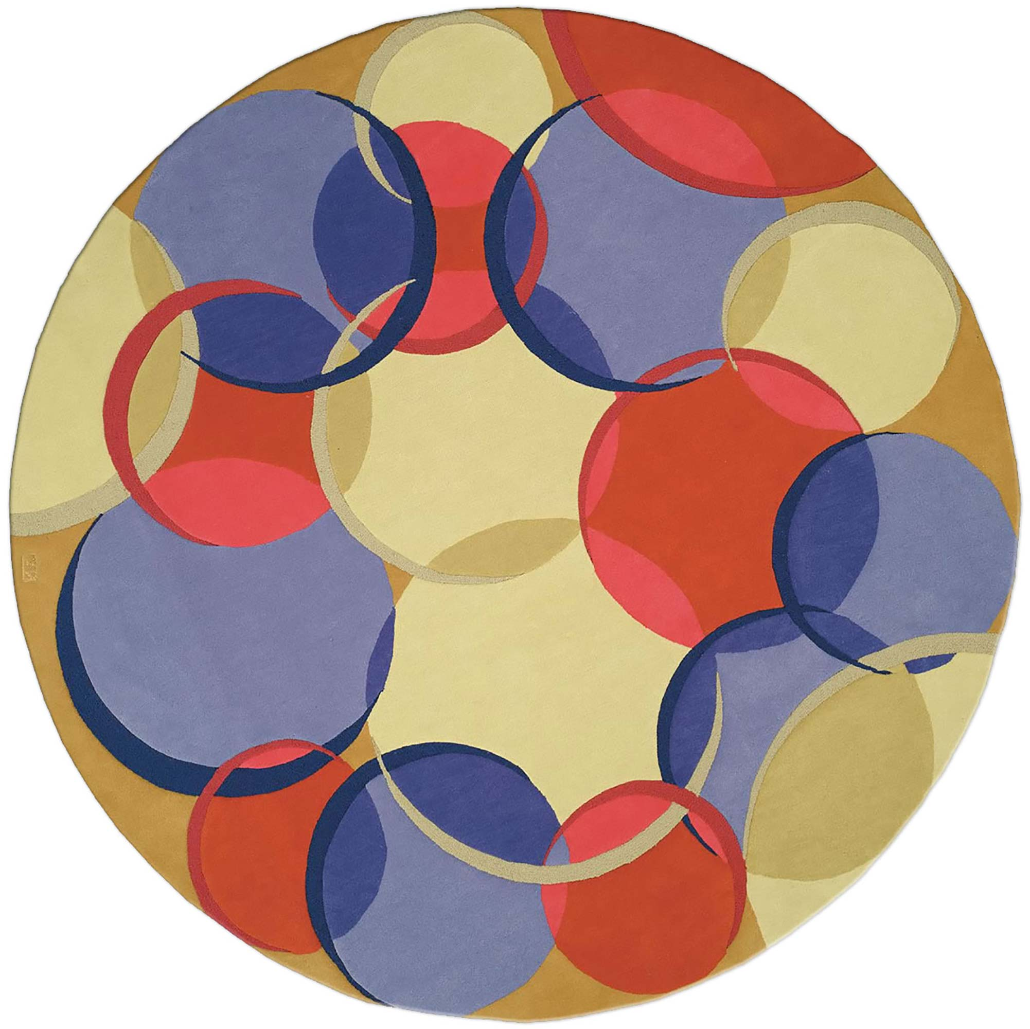 Contemporary Circular Coleman 21 Red Blue And Beige Wool Rug N0157 By Dlb