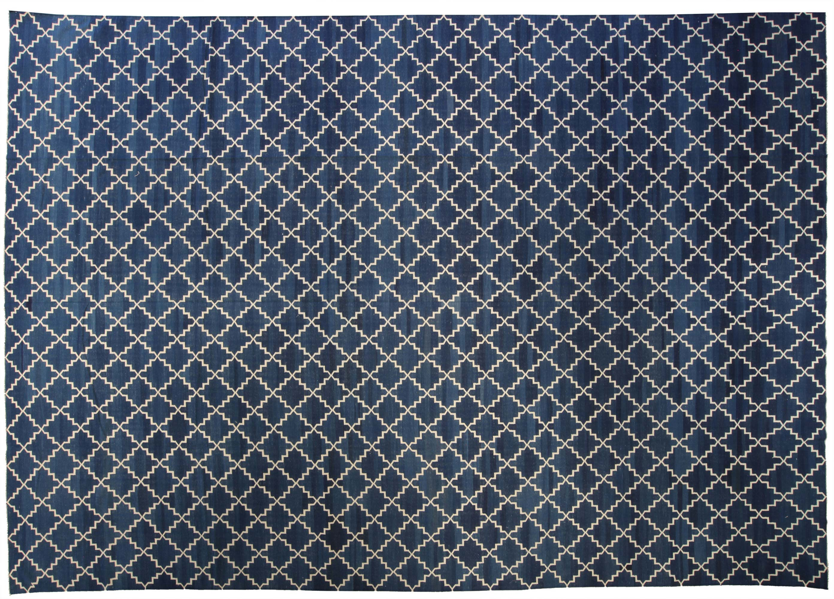 Picture of: Contemporary Dhurrie Deep Blue And White Handwoven Cotton Rug N10389 By Dlb