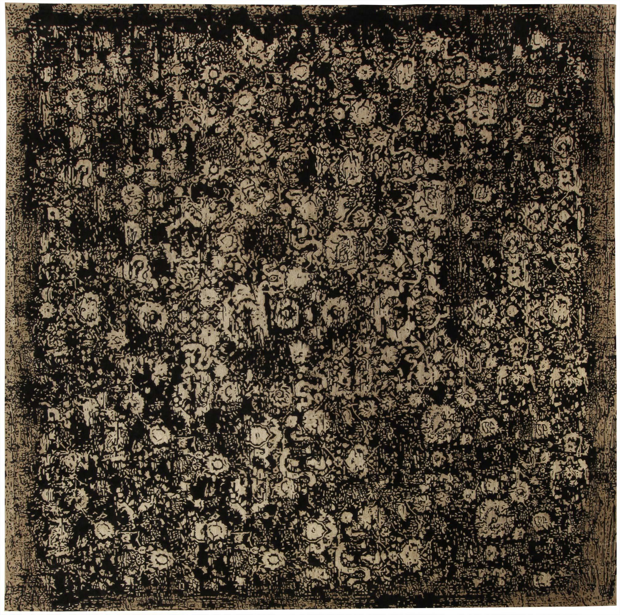 Square Barneo Black And Beige Wool Rug