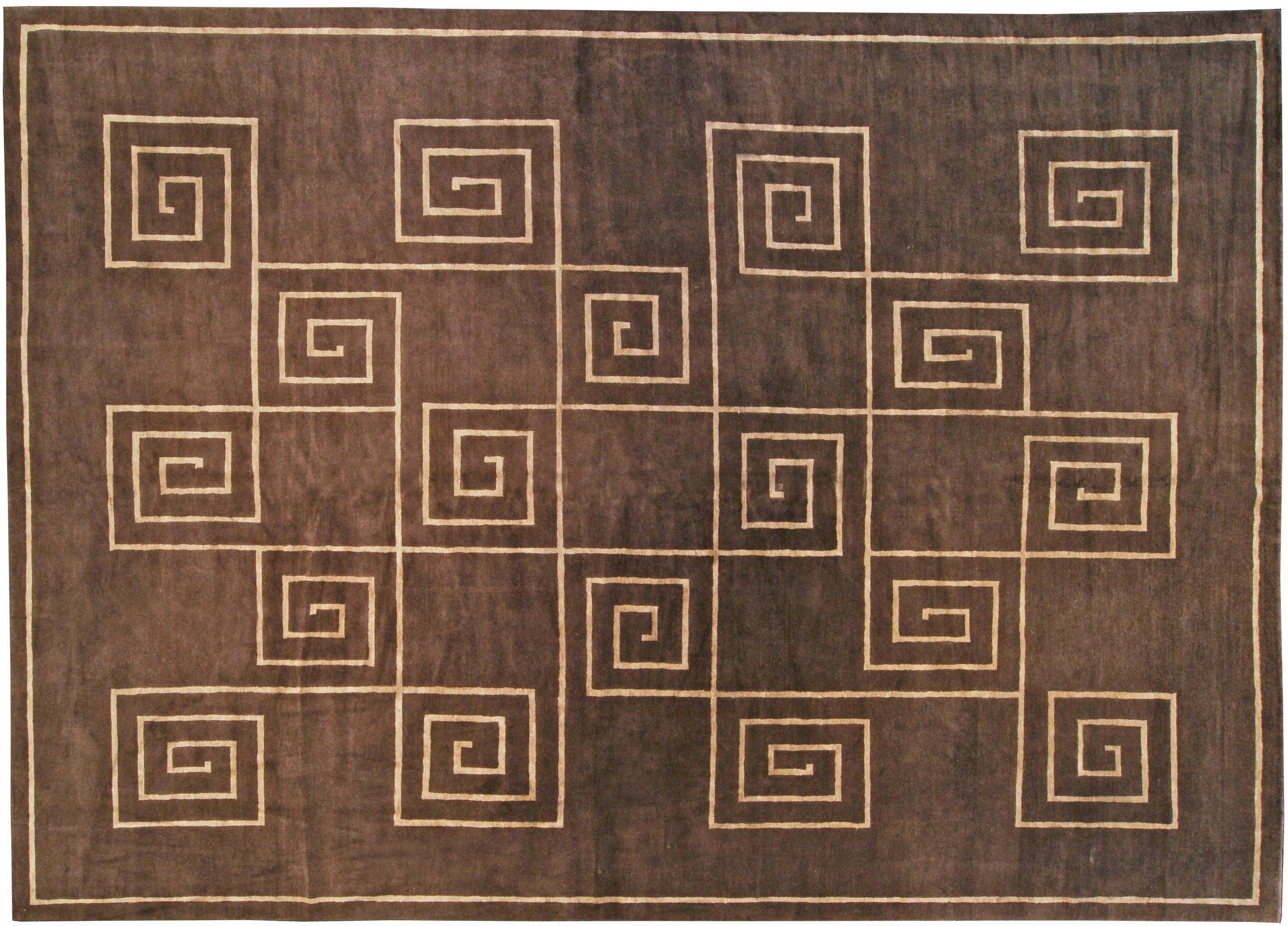 Picture of: Tibetan Greek Key In Chocolate Brown And Golden Beige And Silk Rug N10957 By Dlb