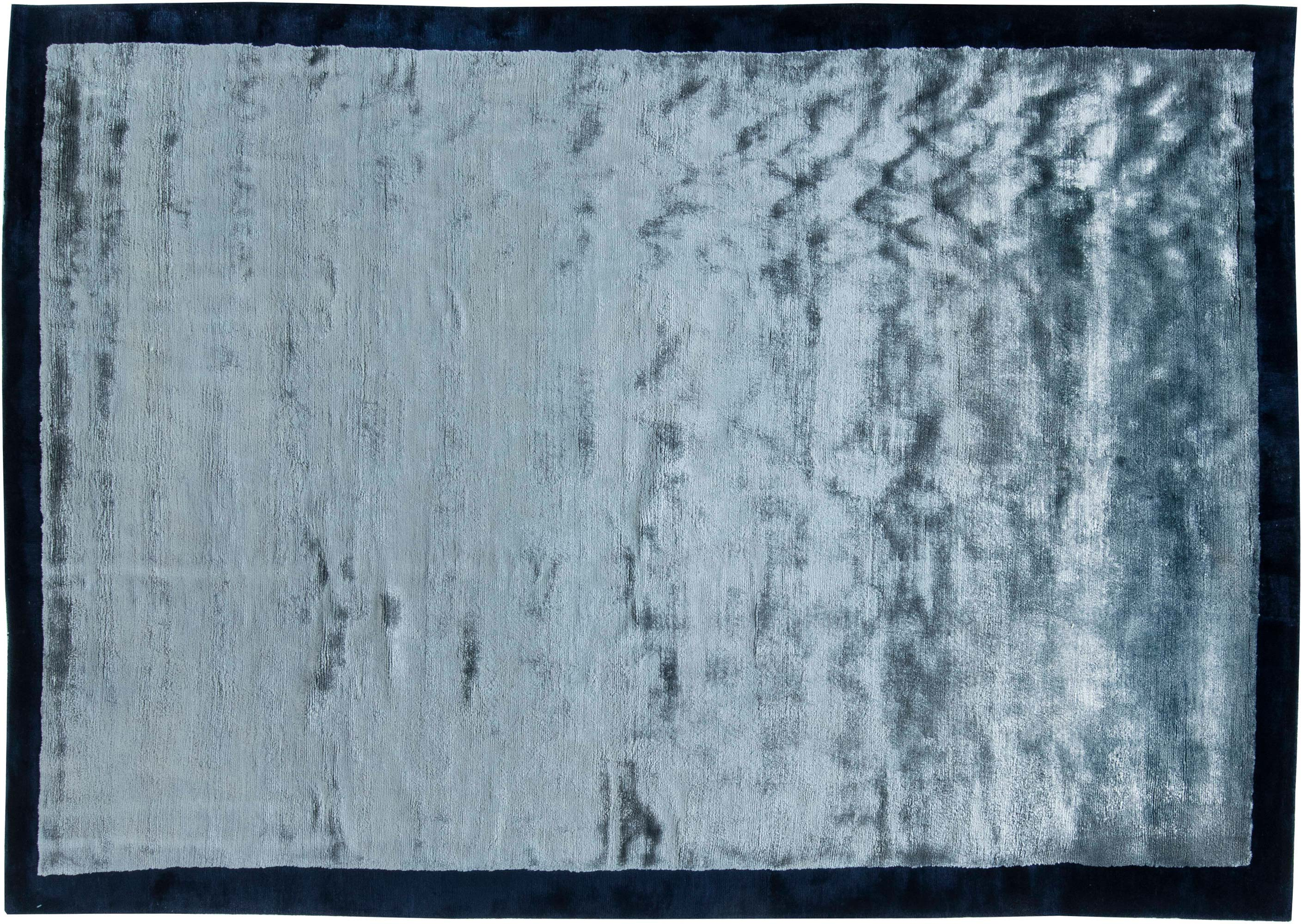 Blue Hand Knotted Silk Rug N11534 By Dlb
