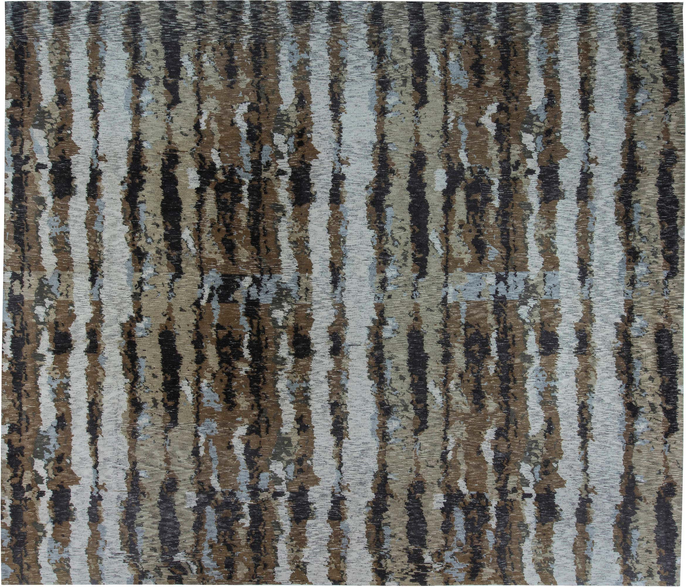 Picture of: Tibetan Warm Brown Sandy Beige Pastel Blue And White Wool Rug N11537 By Dlb