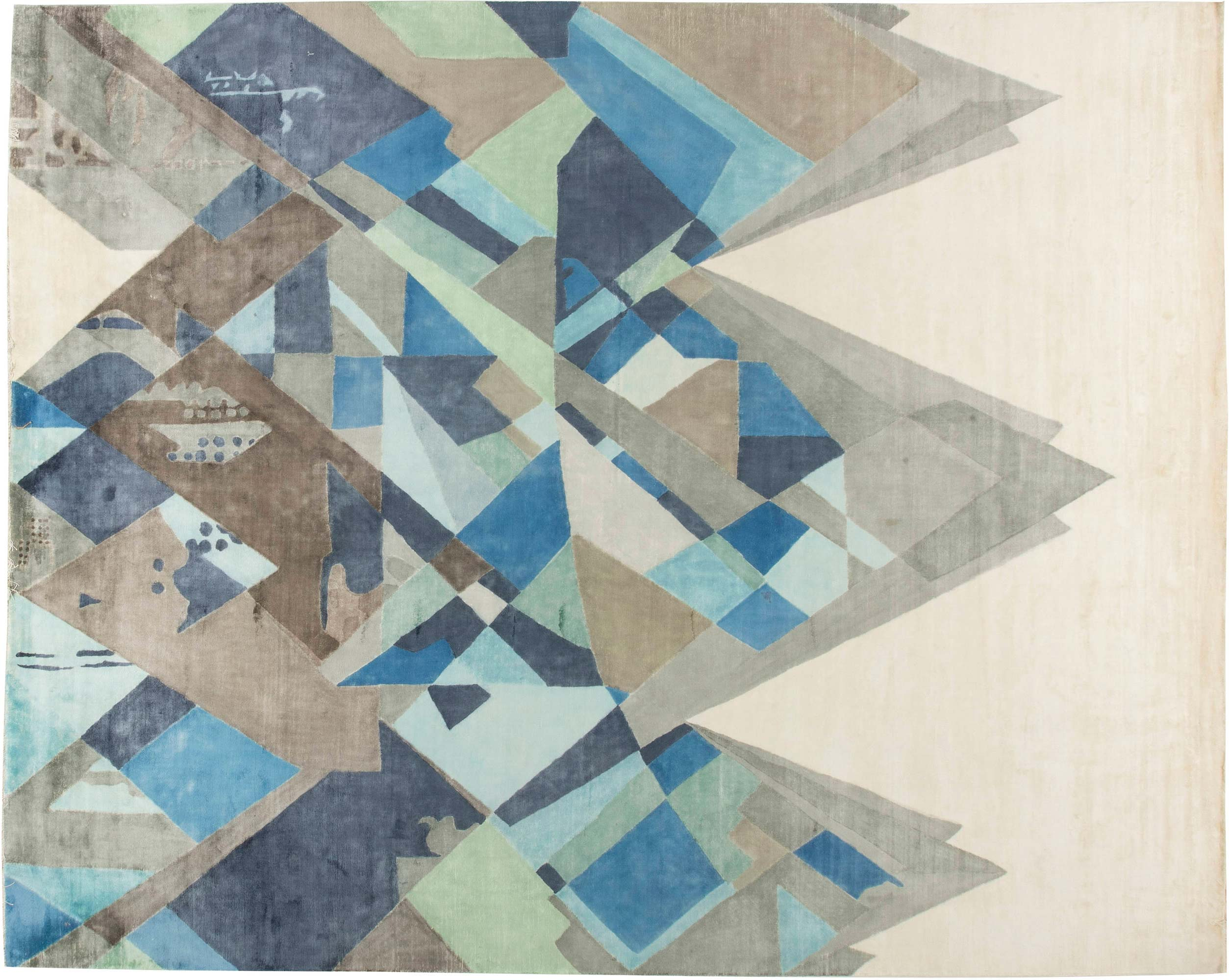 Contemporary White Beige Blue And Gray Everest Rug I N11683 By Dlb