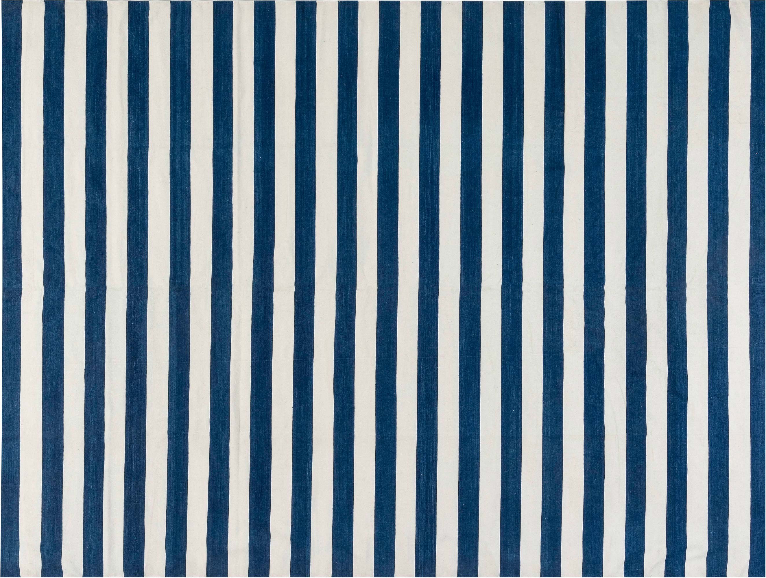 Picture of: Contemporary Blue And White Striped Dhurrie Design Rug N11941 By Dlb