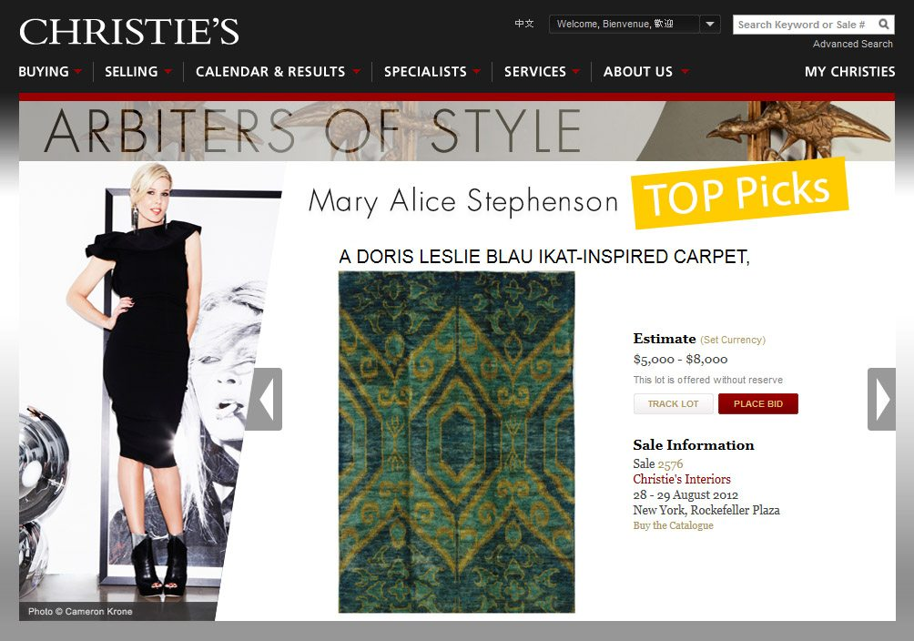 DLB Rug Chosen by Mary Alice Stephenson at Christie's