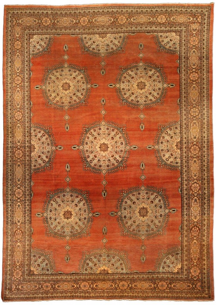 antique-carpets-persian-tabriz-red-minimalist-botanical-