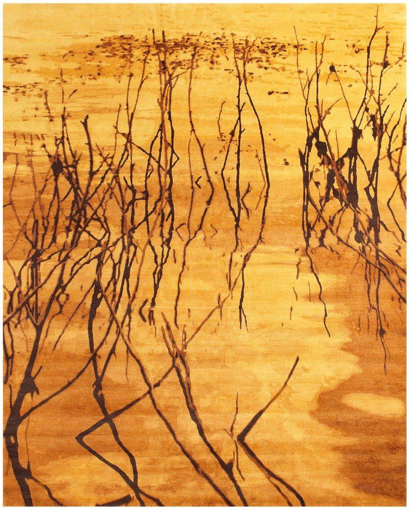 alfombra de danza de oro contemporánea-10x8-n10838