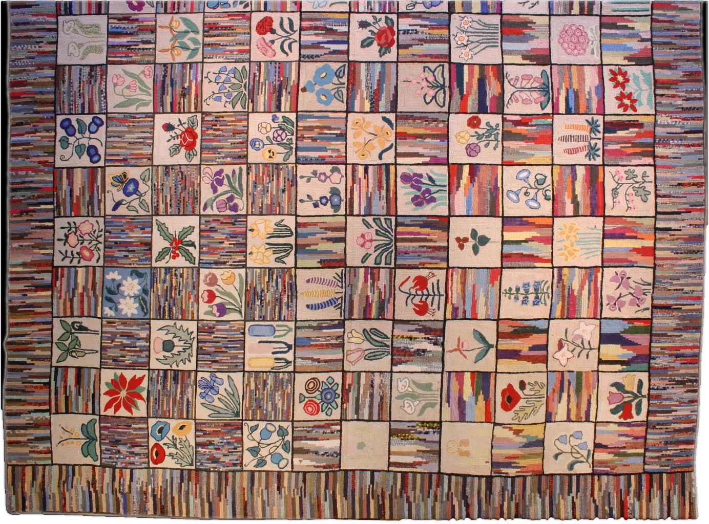 vintage-rug-european-american-hooked-rag-beige-geometric-botanical-bb3578-15x12