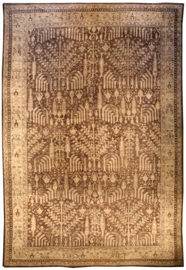 antique-rug-turkish-oushak-brown-botanical-bb3997-22x15