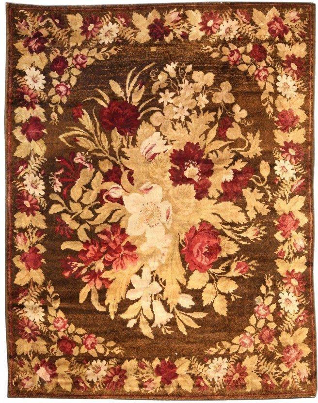antique-carpet-russian-bessarabian-ukrainian-brown-botanical-bb3777-9x7