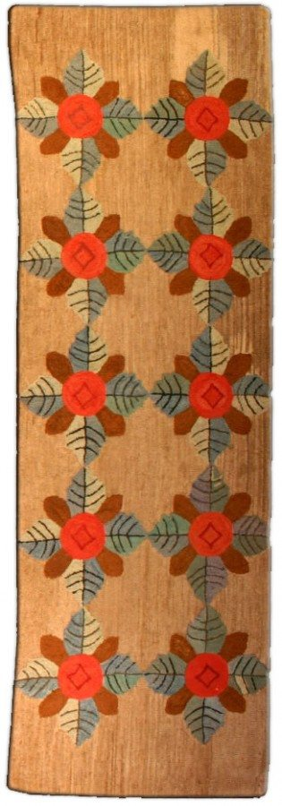 antique-rug-narrow-runners-hooked-runner-brown-botanical-minimalist-bb3401-8x3