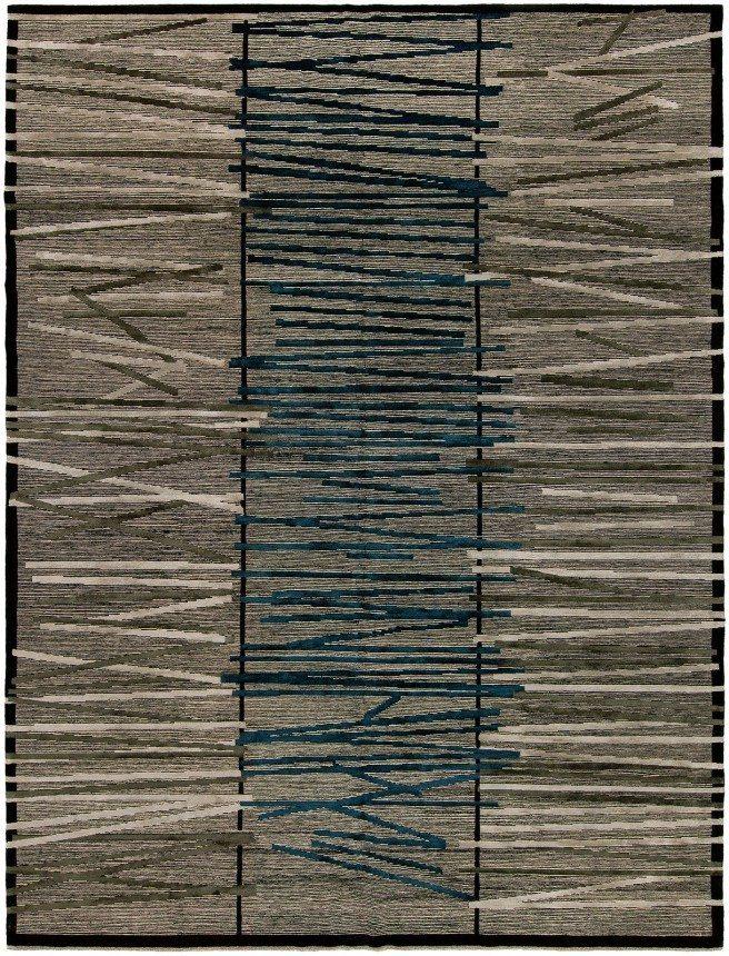 carpets-moder-custom-tibetan-wool-silk-blue-abstract-stripe-s1387-10396-12x10