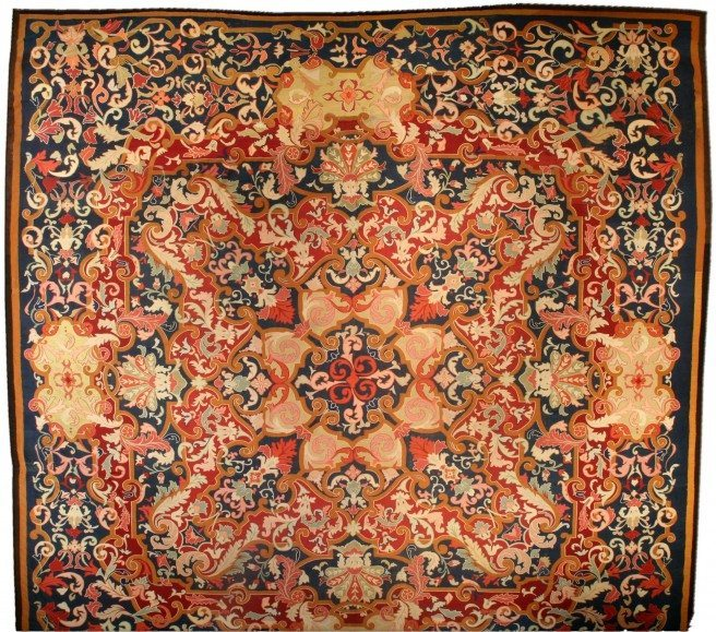antique-carpet-european-american-french-aubusson-savonnerie-blue-botanical-bb4461-19x18