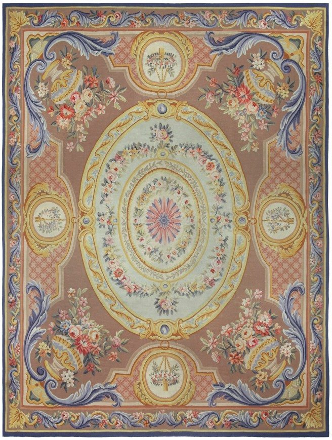 antique-rug-french-aubusson-brown-floral-botanical-bb5215-10x8