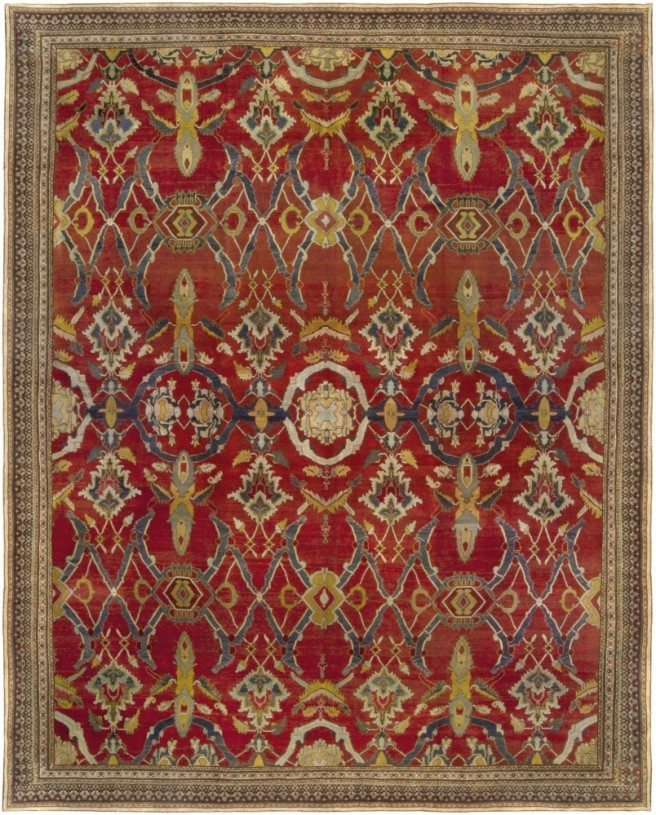 antique-rug-indian-agra-red-floral-red-abstract-floral-bb5109-13x11