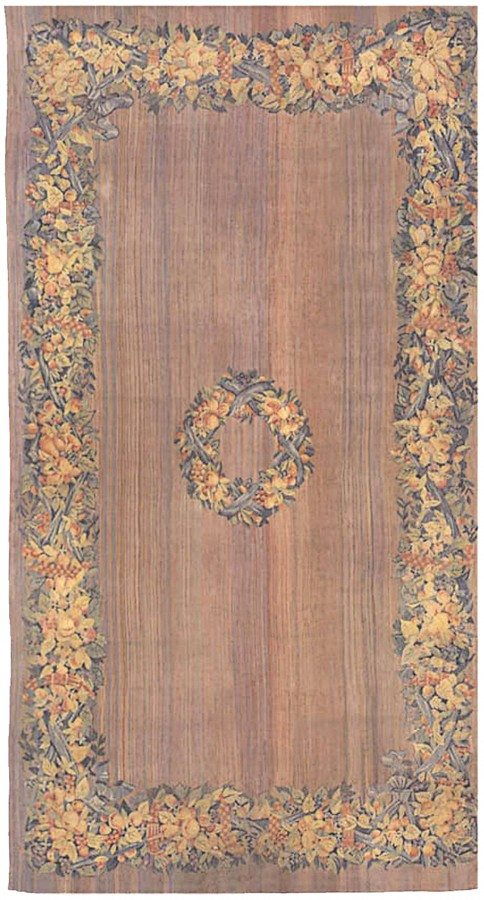 antique-rugs-european-american-french-aubusson-savonnerie-flat-woven-brown-botanical-bb0178-23x12