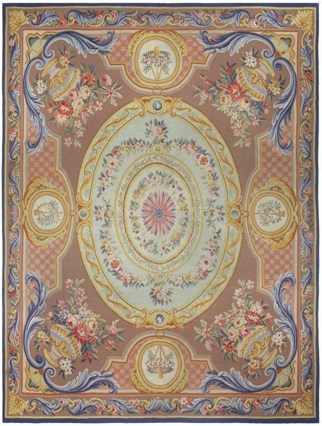antigua-alfombra-francés-Aubusson-marrón-floral-botánico-bb5215-10x8