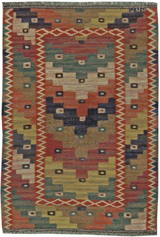 vintage-rugs-swedish-flat-weave-marta-mass-fjetterstrom-gold-red-green-geometric-5x4-bb5976-