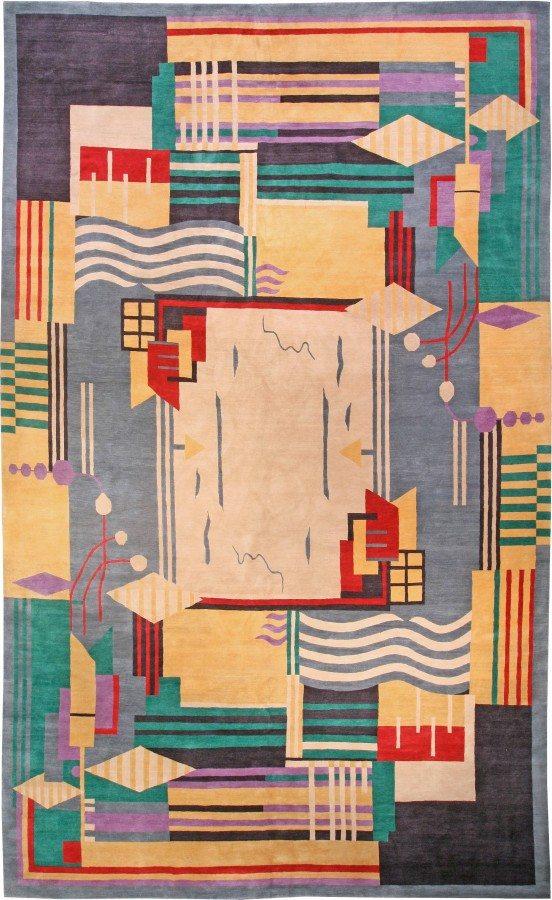 contemporary-rugs-custom-tibetan-green-geometric-18x11-n10959