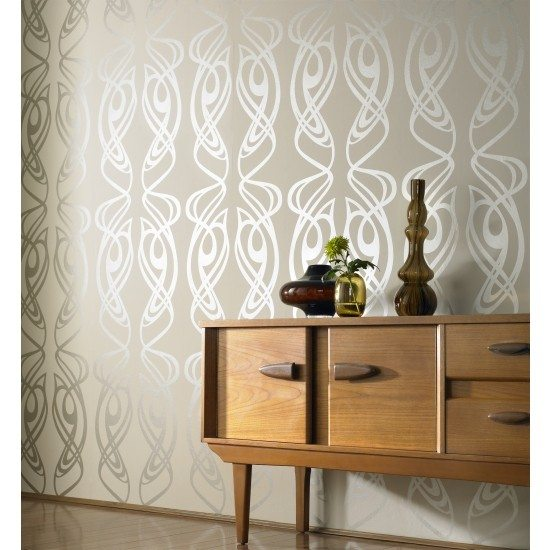 Diva wallpaper in Oyster by Barbara Hulanicki for Graham and Brown
