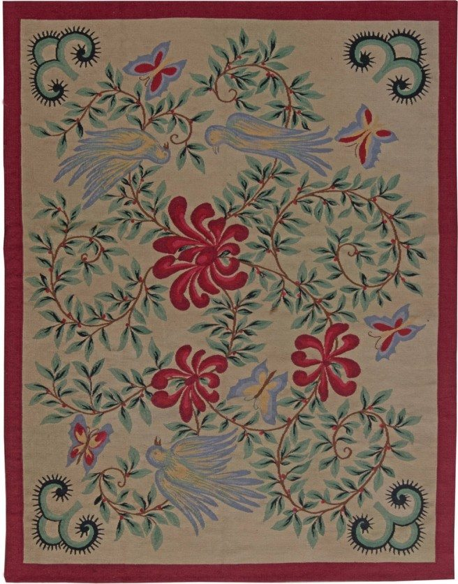 antique-carpet-french-aubusson-red-floral-5x5-bb6179