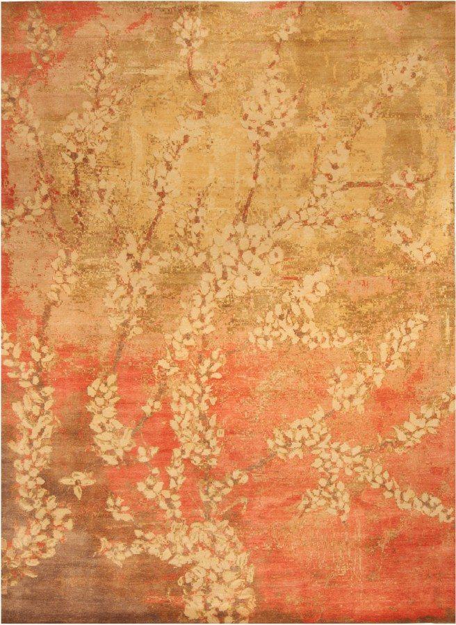 carpet-modern-orange-blossom-flowers-wool-silk-yellow-floral-12x10-n11162-