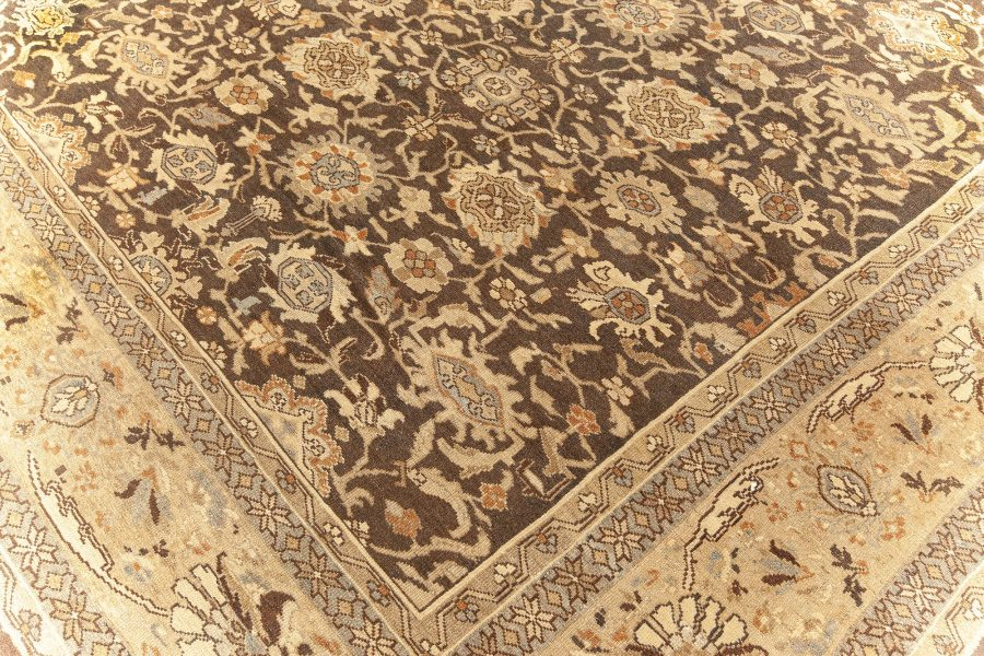 Antique Persian Malayer Brown, Beige and Blue Handwoven Wool Rug BB5893