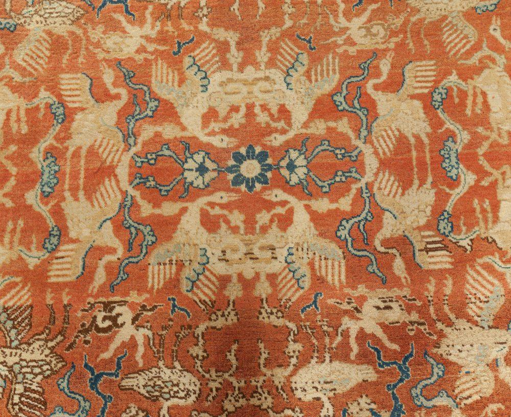 Antique Persian Tabriz Beige & Dark Blue Handwoven Wool Carpet BB0642