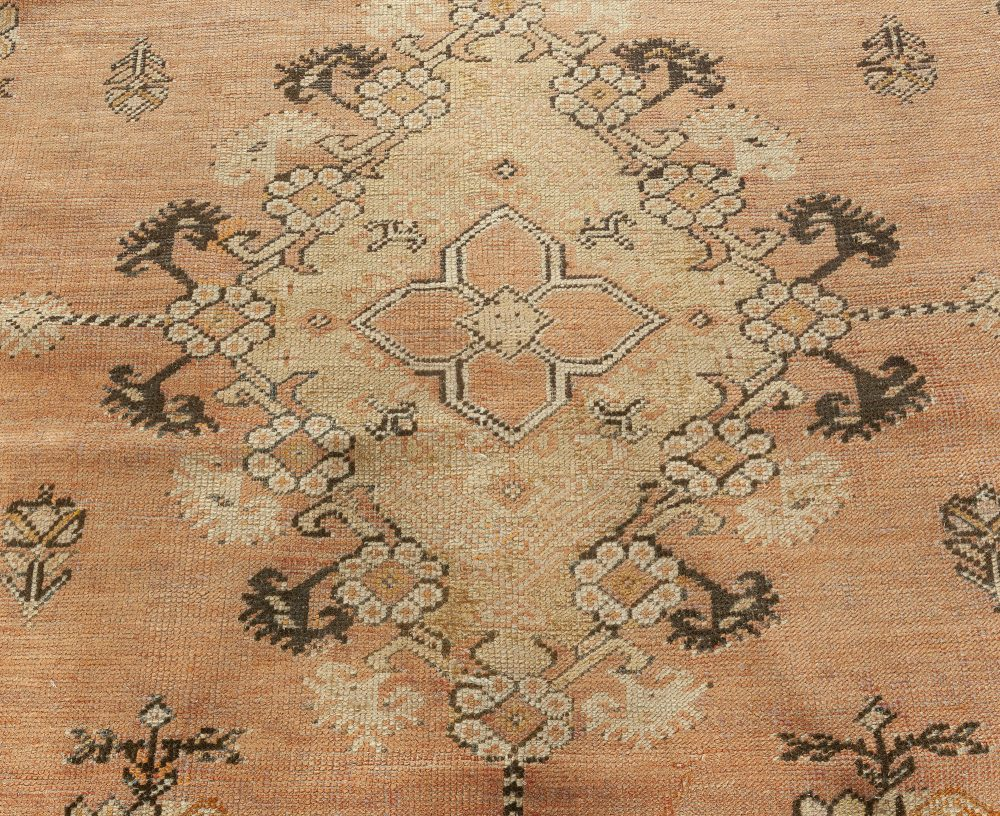 19th Century Turkish Ghiordes Dusty Rose and Ivory Handwoven Wool Rug BB0921