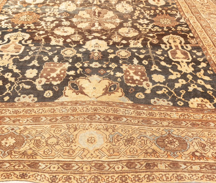 Antique Persian Sultanabad Dark Brown and Camel Handwoven Wool Carpet BB3850