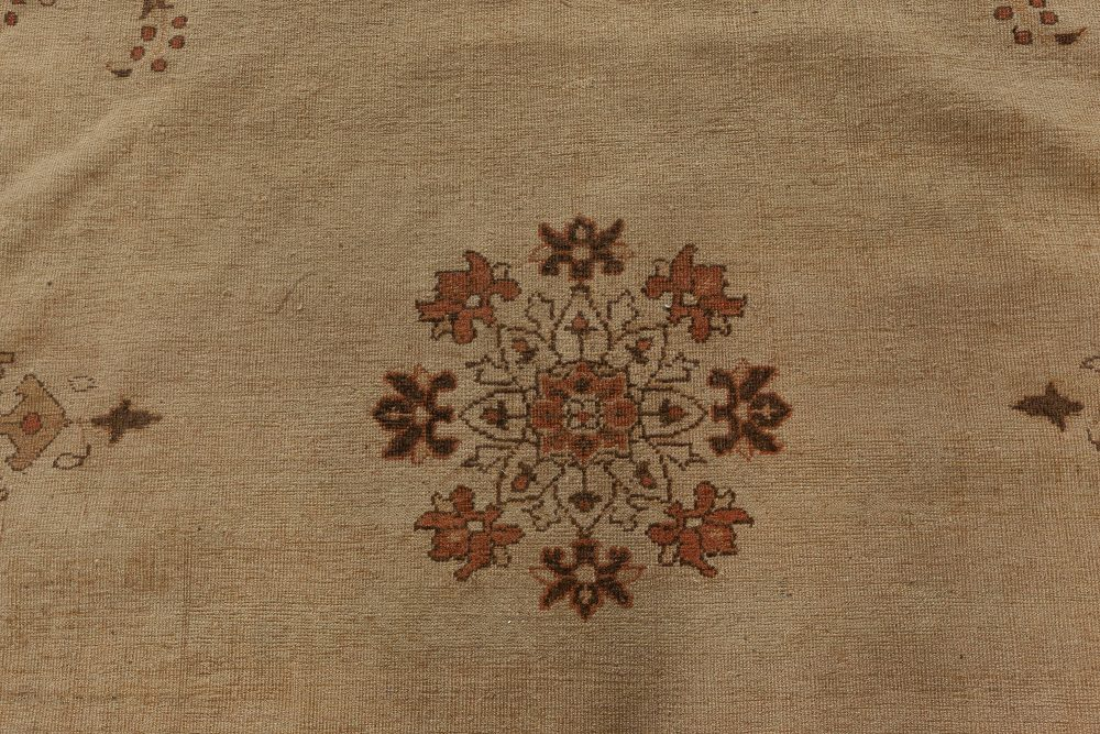 Antique Indian Amritsar Handwoven Wool Camel and Brown Rug BB4344