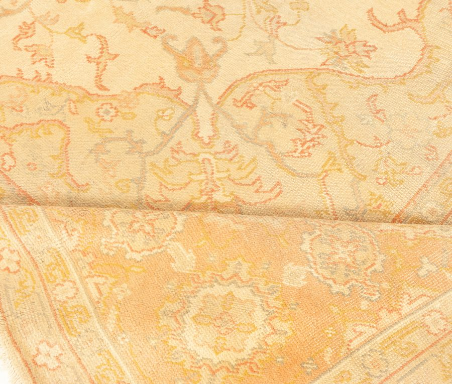 Antique Turkish Oushak Beige and Salmon Handwoven Wool Rug BB4359