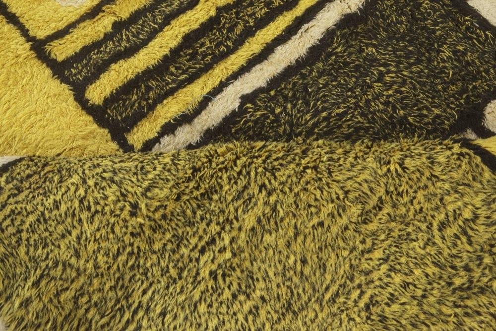 Mid-century Modernist Rug in Yellow, Black, and Ivory BB4475