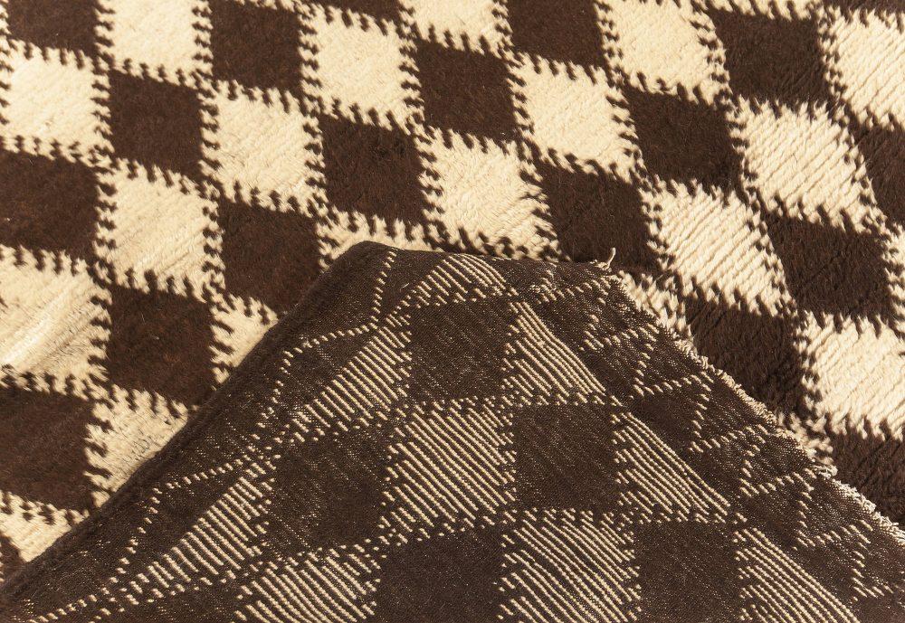 Midcentury Moroccan Black and Beige Handwoven Wool Rug BB4556