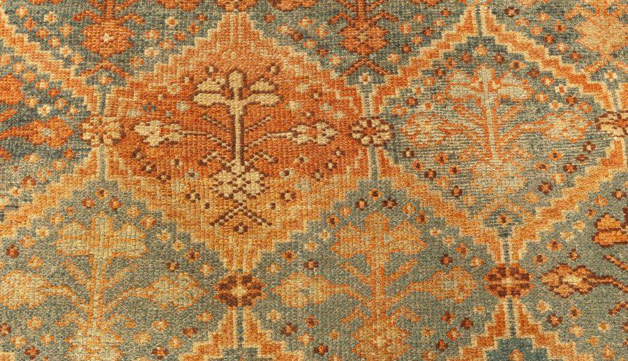 Persian Malayer Orange, Rust, Brown and Cool Blue-Grey Wool Runner BB5117