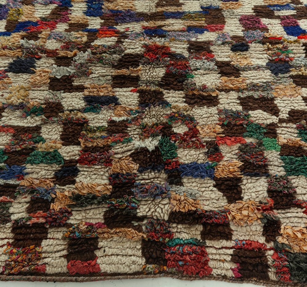 Vintage Tribal Handmade Moroccan Rug in Cream, Brown, Red, Purple, Green, Yellow, and Blue BB5133
