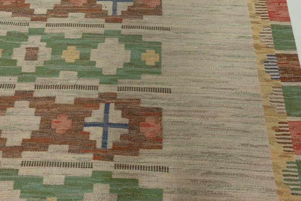 Midcentury Swedish Geometric Light Blue Flat-Woven Wool Rug BB5277