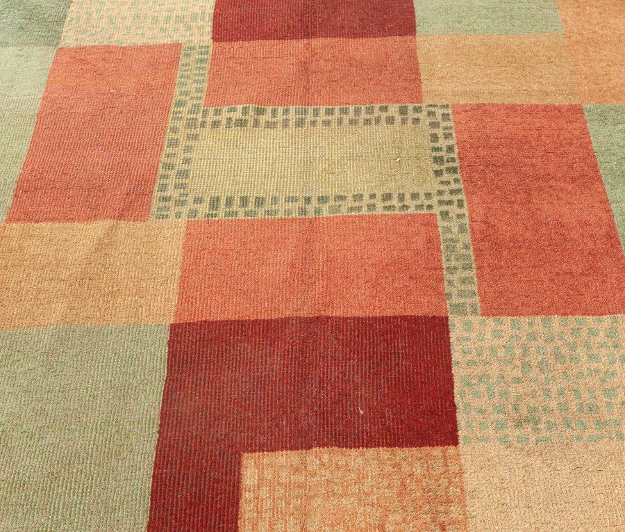 Vintage Art Deco Beige, Green, Pink and Maroon Handwoven Wool Rug BB5413