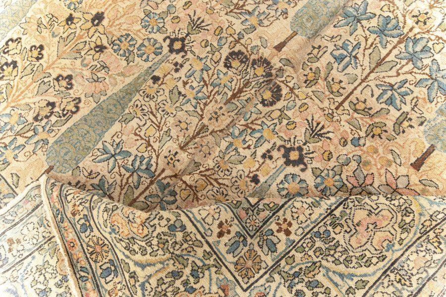Antique Persian Kirman Beige & Pastel Handwoven Wool Carpet BB5568