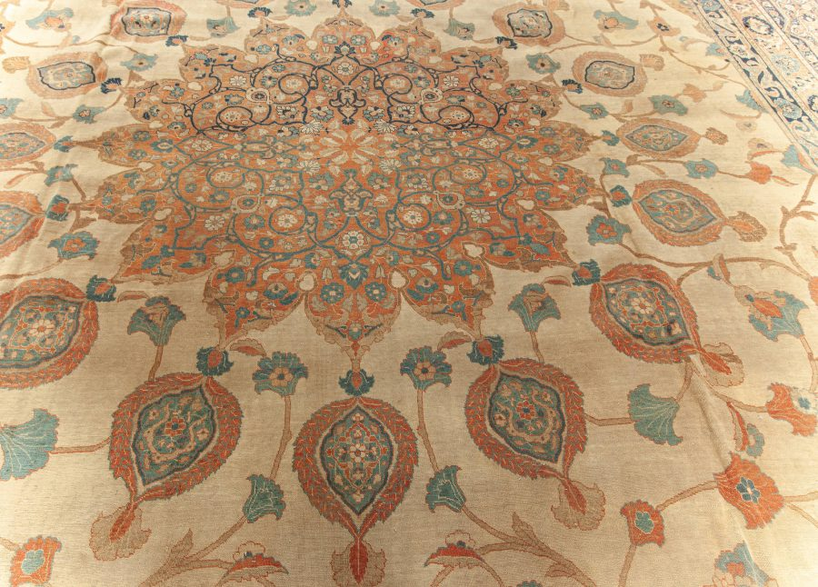 Large 19th Century Persian Tabriz Ivory, Blue, Gold and Green Rug BB5576