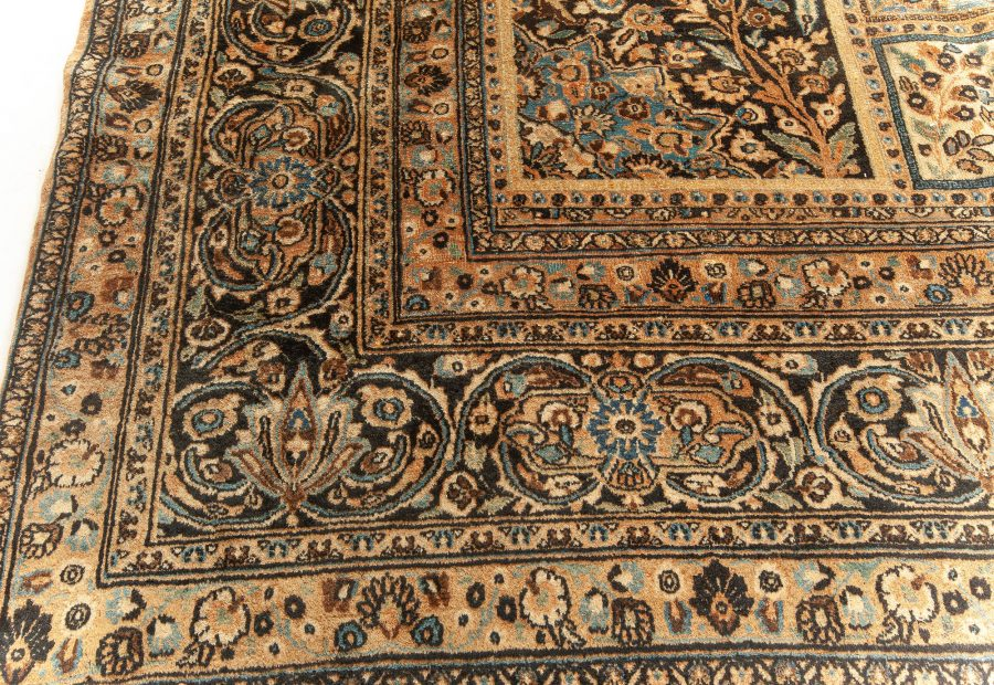Meshad Rust-blue, Deep Walnut and Faded Brown Wool Rug BB5586